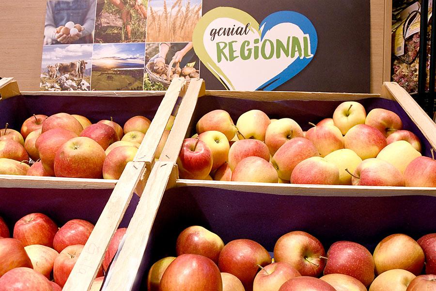 Regionale Äpfel bei nah & gut in Tannheim